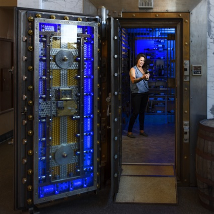 Inside the vault at Vault Wine Bar