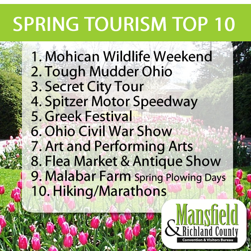 Mansfield Richland Ccounty Convention and Vistor Bureau Spring Tourism Top 10 List