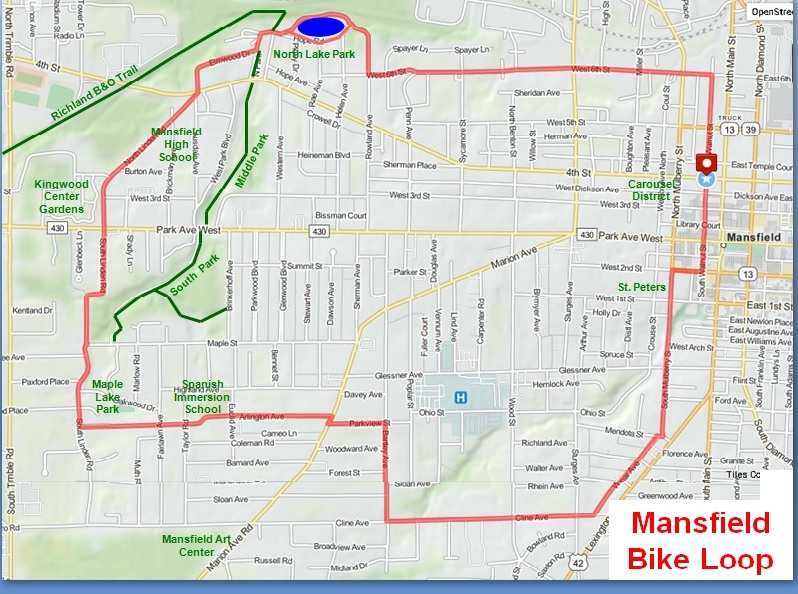Mansfield City Bike Loop Destination Mansfield