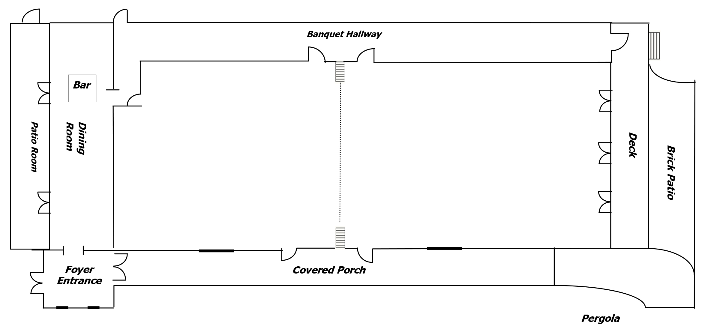 Black and White Line Rendering of The Cabin Floor Plan
