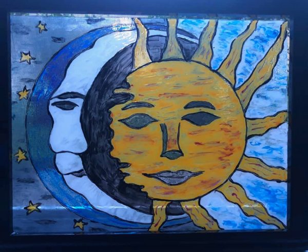 Sun & Moon Framed Stained Glass – Paint and Sip