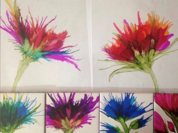 Family Art Night – October – Alcohol Ink Pottery Tiles